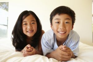 Portrait young Asian girl and boy